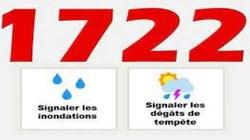 Ouverture d'un guichet électronique www.1722.be en cas de tempête ou d'inondation