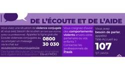 Violence conjugale et intrafamiliale : services d'aide restent à disposition