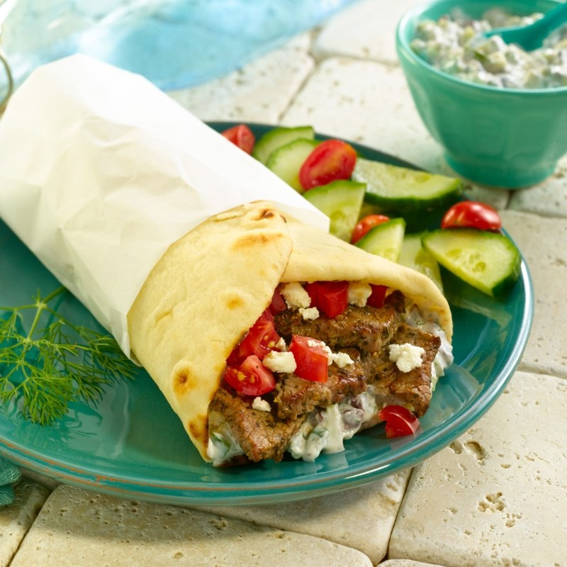 tzatziki sauced greek steak wraps square